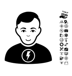 Power man icon with flying drone tools bonus vector