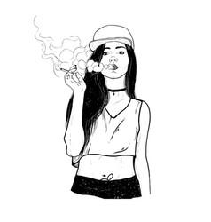 rap smoking girl vector image vector image