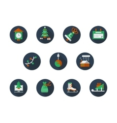 Round flat color winter holidays icons set vector image