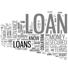 a guide to basic loan terms text word cloud vector image vector image