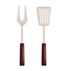 bbq cutlery menu icon vector image