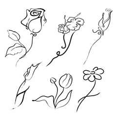 flowers design set vector image vector image