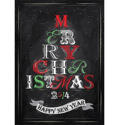Poster Tree Christmas Happy chalk color vector image vector image
