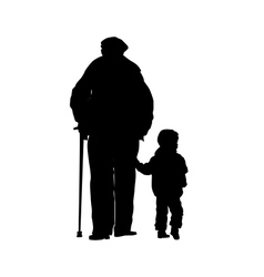 an old man with a stick and a small child vector image vector image