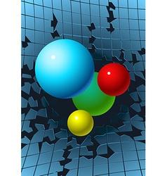 Balls breaking glass vector image
