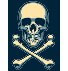 classic skull with crossed bones vector image vector image