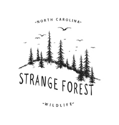 Graphic label with forest vector image vector image