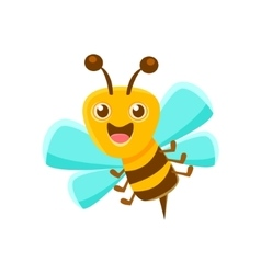 Happy Bee Mid Air With Sting Natural Honey vector image