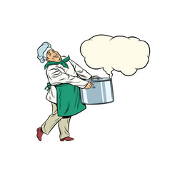 italian or french chef holding a hot pot cloud of vector image