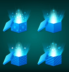 magical light coming out of the blue gift boxes vector image