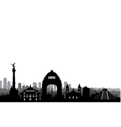 mexico city skyline cityscape landmark silhouette vector image vector image