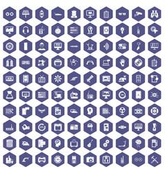 100 settings icons hexagon purple vector