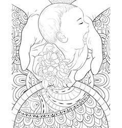 Adult coloring bookpage a cute baby in the hands vector