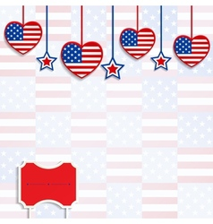 American background with hanging hearts and stars vector image