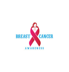 angel lady wing with pink ribbon for breast cancer vector image