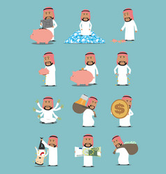 arab businessman with money cartoon character set vector image
