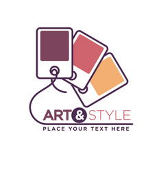 Art and style logotype with color palette isolated vector