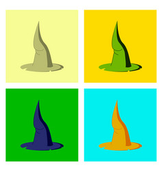 Assembly flat witch hat vector