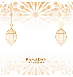 Attractive ramadan kareem islamic festival card vector