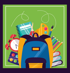 back to school supplies flat design vector image