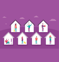Banner with homes with people inside vector