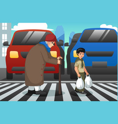 Boy helping old lady crossing street vector
