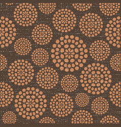 brown circles fabric texture seamless pattern vector image