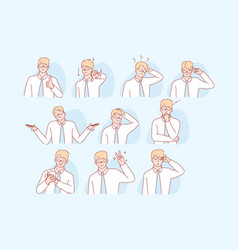 Businessmans gestures and facial expresion set vector