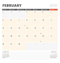 Calendar planner for february 2018 design vector