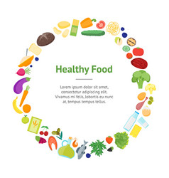 cartoon color healthy food banner card circle vector image