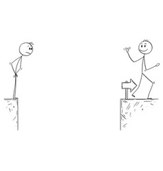 Cartoon of businessman facing successful vector