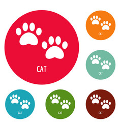 Cat step icons circle set vector