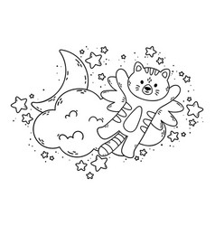 Cat with wings flies past cloud moon vector