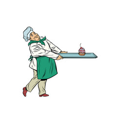 chef cook brings a tray dessert cupcake vector image