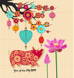 chinese new year 2019 background with lotus and vector image