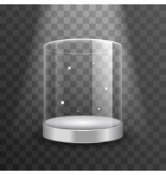 Clean glass showcase podium with spotlight and vector image