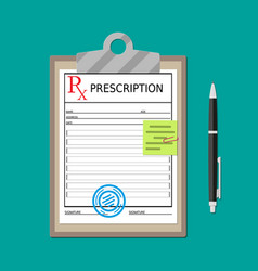 clipboard with prescription document and pen vector image
