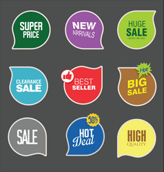 colorful sale stickers collection vector image