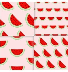 Colorful seamless patterns of watermelon slices vector image