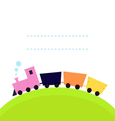 Cute colorful Train on hill with copy space vector