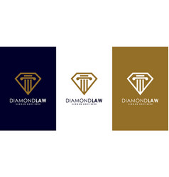 diamond law logo design mono line vector image