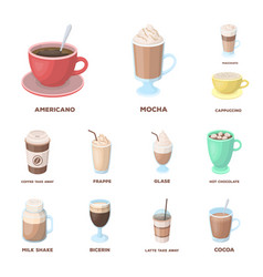 different kinds of coffee cartoon icons in set vector image