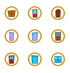 Doorway icons set cartoon style vector