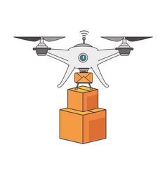 drone flying technology with boxes vector image