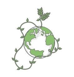 earth globe green icon vector image