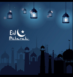 Eid mubarak greeting with mosque and with vector