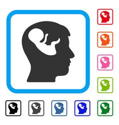 embryo mind head framed icon vector image vector image
