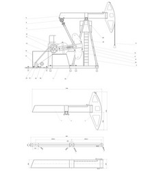 Engineering drawing pumping unit vector