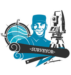 Engineering land surveying geodetic device symbol vector