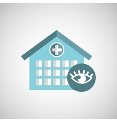 eye healthy care hospital building icon vector image
